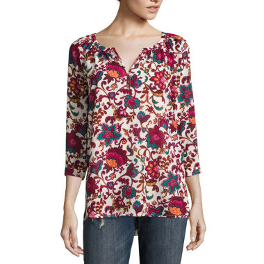 jcpenney.com | Liz Claiborne 3/4 Sleeve Split Crew Neck Woven Blouse - Tall