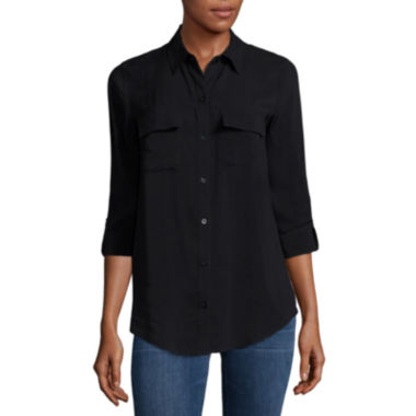 jcpenney.com | a.n.a® Tab-Sleeve Flap-Pocket Blouse - Tall