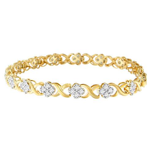 Womens 1 CT. T.W. White Diamond 10K Yellow Gold Over Silver Tennis Bracelet