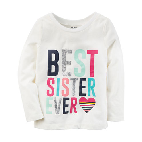 Carter's Long Sleeve Round Neck T-Shirt-Toddler Girls