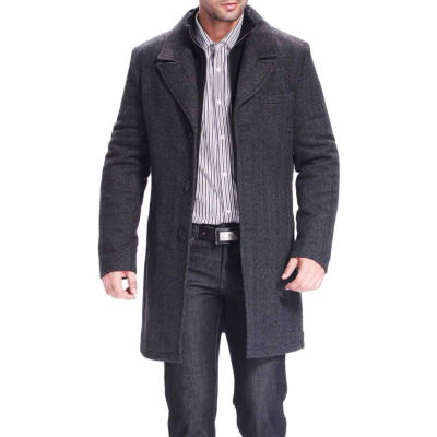Bgsd Men's Derek Herringbone Wool Blend Walking Coat by Bgsd