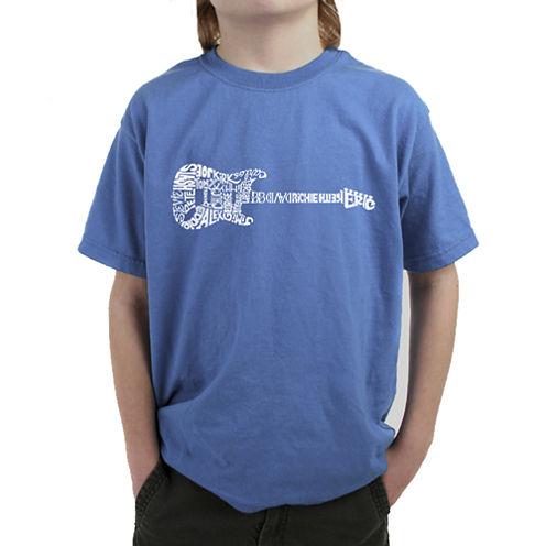 Los Angeles Pop Art Rock Guitar Graphic T-Shirt Boys