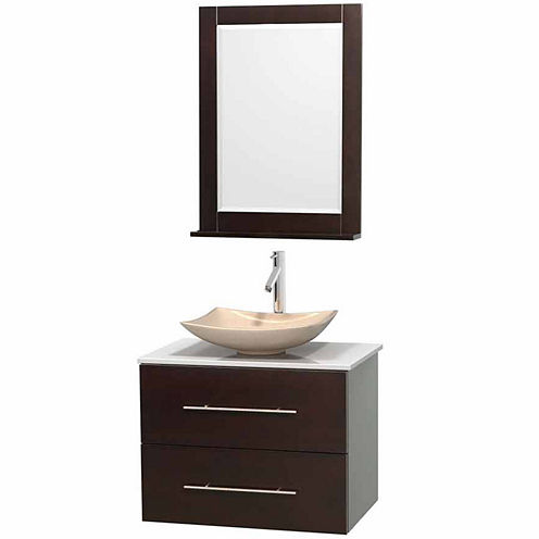 Centra 30 inch Single Bathroom Vanity; White Man-Made Stone Countertop; Arista Ivory Marble Sink; and 24 inch Mirror