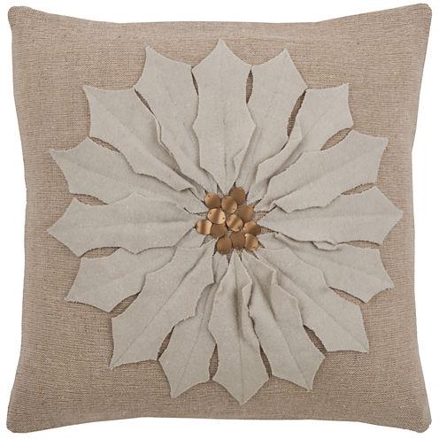 Rizzy Home Poinsettia Square Throw Pillow