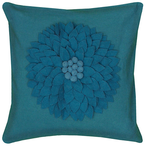 Rizzy Home Flower Dimensional Square Throw Pillow