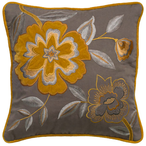 Rizzy Home Embroidered Yellow Floral Square ThrowPillow
