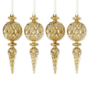 MarthaHoliday™ Silent Night Set of 4 Glass Gold Finial Christmas Ornaments