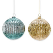 MarthaHoliday™ Silent Night Set of 2 Ribbed Glass Ball Christmas Ornaments