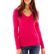 jcp™ V-Neck Cable Knit Sweater - Talls