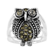 Silver Plated Marcasite Owl Ring