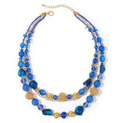 Aris by Treska Gold-Tone Blue 3-Row Necklace