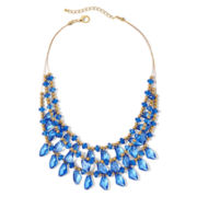 Aris by Treska Gold-Tone Blue 3-Row Illusion Necklace