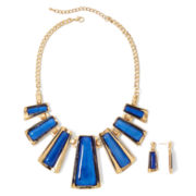 Aris by Treska Gold-Tone Blue Earring and Necklace Set