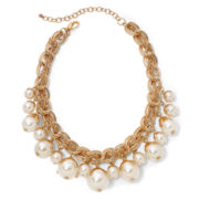 Aris by Treska Simulated Pearl Gold-Tone Woven Necklace