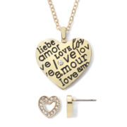 Liz Claiborne® Gold-Tone Love Messages Heart Pendant Necklace & Earring Set