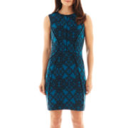 Worthington® Sleeveless Piped Print Sheath Dress