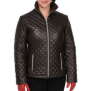 Excelled Leather Quilted Scuba Jacket - Plus