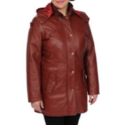 Excelled Leather Nappa Hooded Anorak - Plus