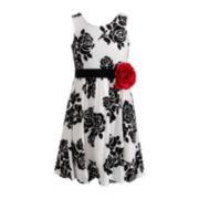 Emily West® Sleeveless White Ponte Floral Dress - Girls 7-16