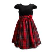 Emily West® Cap-Sleeve Woven Plaid Dress – Girls 7-16