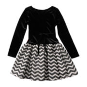 Emily West® Long-Sleeve Velvet Chevron Dress – Girls 7-16