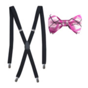 Windowpane Bow Tie & Suspenders Set