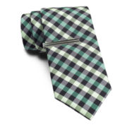 JF J. Ferrar® Blurred Gingham Slim Tie