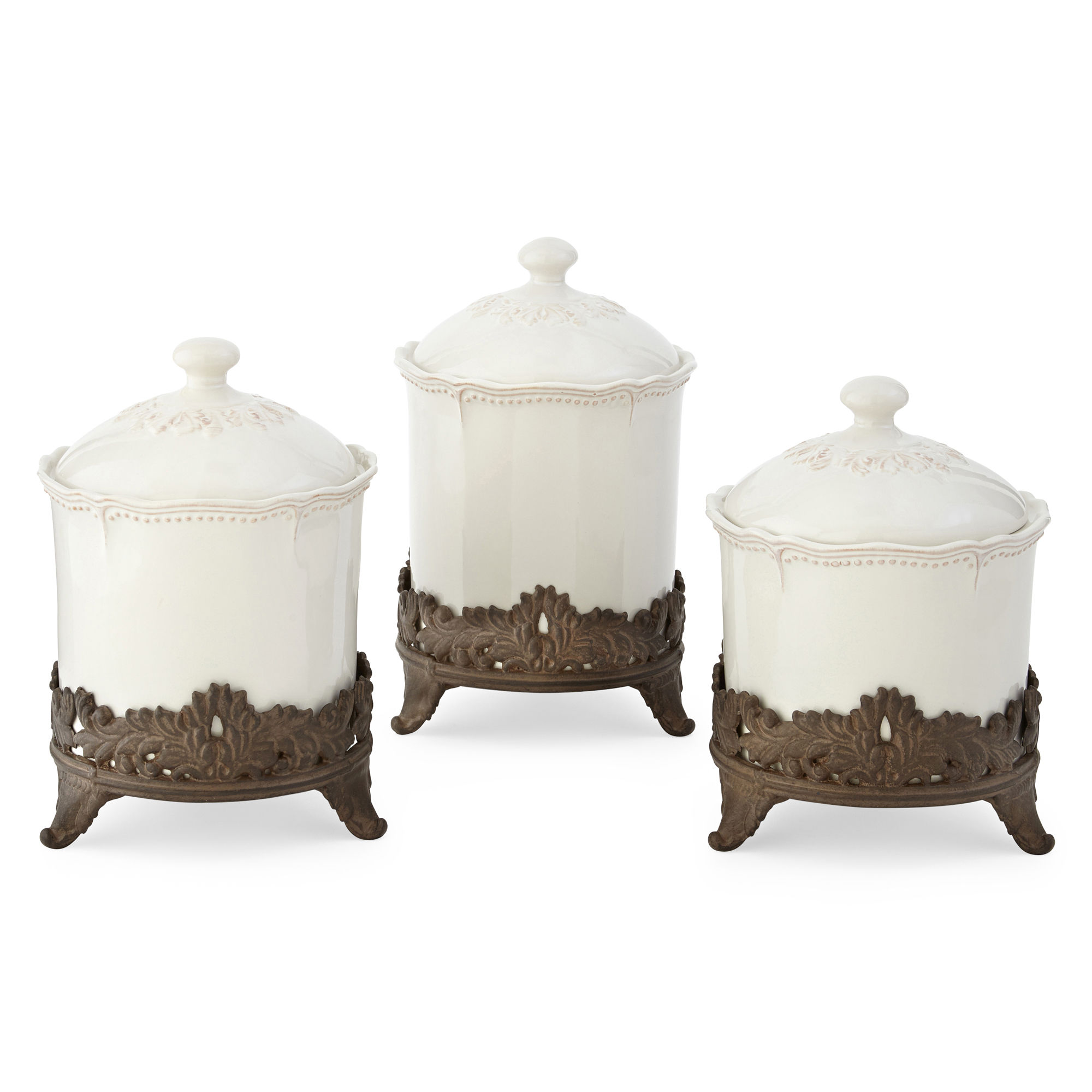 Canisters Kitchen Tea Rose Small Sealed Canister Set 3 Pc From Pfaltzgraff