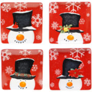 Top Hat Snowman Set of 4 Dinner Plates