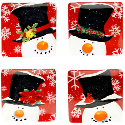 Certified International Top Hat Snowman Set of 4 Dessert Plates