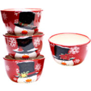 Top Hat Snowman Set of 4 Ice Cream Bowls