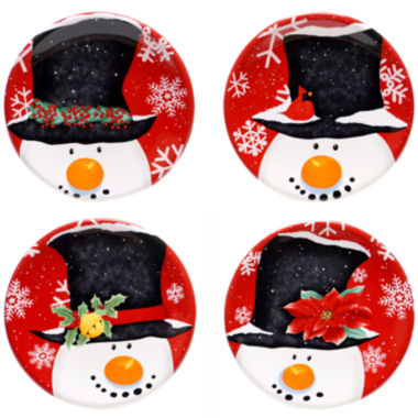 jcpenney.com | Certified International Top Hat Snowman Set of 4 Canapé Plates