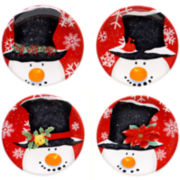 Top Hat Snowman Set of 4 Canapé Plates