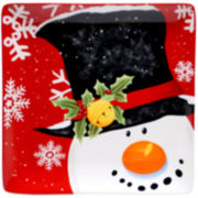 Certified International Top Hat Snowman Small Square Serving Platter