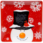 Certified International Top Hat Snowman Large Square Serving Platter
