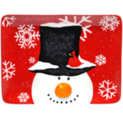 Certified International Top Hat Snowman Rectangular Serving Platter