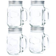 Set of 4 Glass Mason Jars with Metal Lids