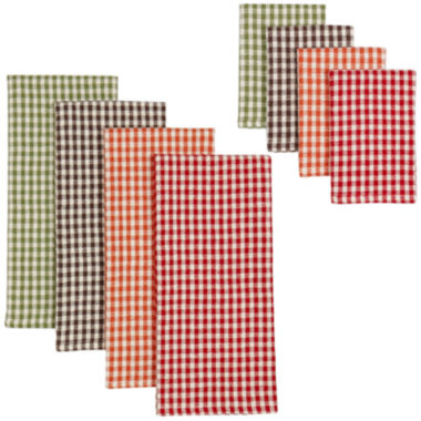 jcpenney.com | Harvest Check 8-pc. Dish Towel and Dishcloth Set