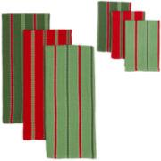 Sprig Stripe 6-pc. Dish Towel and Dishcloth Set