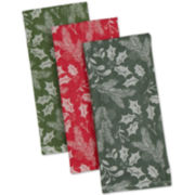 Holiday Greenery Set of 3 Kitchen Towels