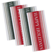 Happy Holidays Set of 4 Kitchen Towels