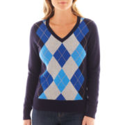 St. John's Bay® Long-Sleeve Argyle Sweater - Tall
