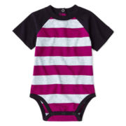 Okie Dokie® Short-Sleeve Striped Raglan Bodysuit – Boys newborn-9m