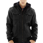 i jeans by Buffalo Hooded Faux-Leather Jacket