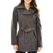 a.n.a® Short Belted Wool-Blend Coat - Petite