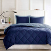 Larkspur Microfiber Reversible Down Alternative Comforter Set