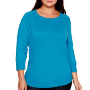 Stylus™ 3/4-Sleeve Swing Sweater - Plus