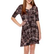 Decree® Elbow-Sleeve Skater Dress
