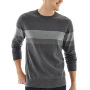 Claiborne® Chest-Striped Cotton-Cashmere Sweater