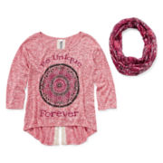 Knit Works Lace-Back Sweater and Scarf - Girls 7-16 and Plus